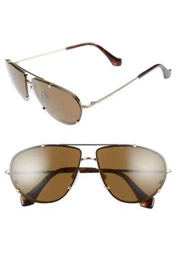 Balenciaga 62Mm Aviator Sunglasses - Pale Gold/ Dark Havana/ Roviex