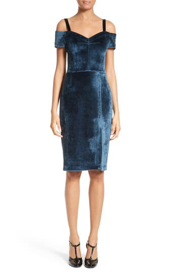 Yigal Azrouel Velvet Cold-Shoulder Dress