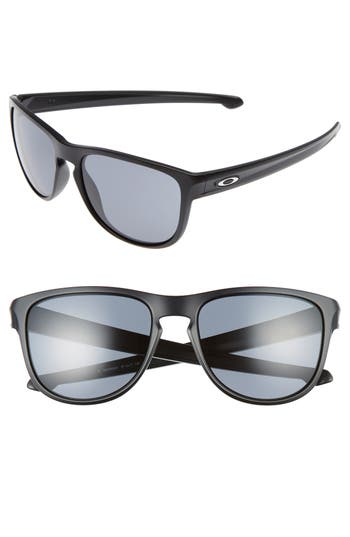 Oakley Sliver(TM) 57Mm Round Sunglasses - Matte Black/ Grey