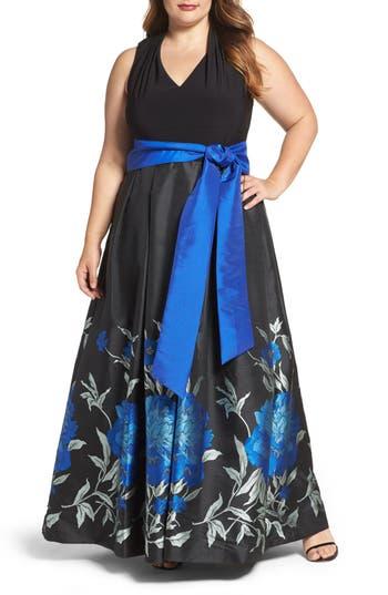 Plus Size Eliza J Jersey & Floral Jacquard Ballgown, Black