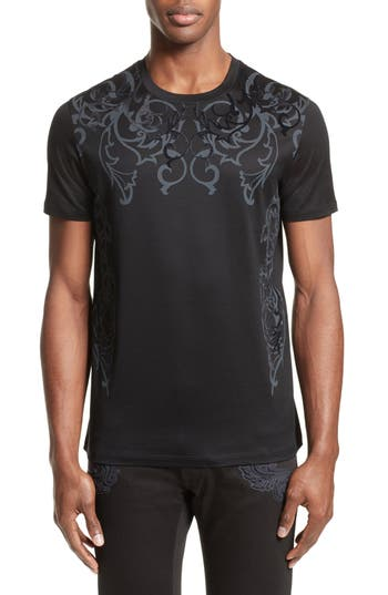 Versace Collection Flocked Baroque T-Shirt, Black
