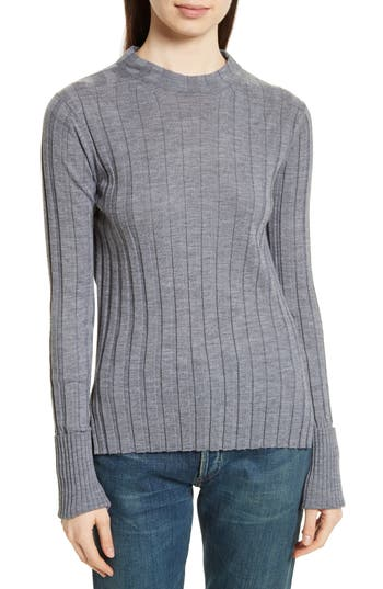 Theory Wide Ribbed Mock Neck Wool Sweater, Size Petite - Grey