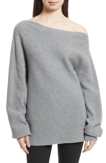 Theory One-Shoulder Merino Wool Sweater, Size Petite - Grey
