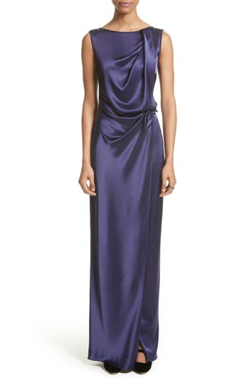 St. John Evening Liquid Satin Drape Front Column Gown, Purple