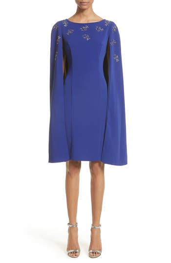 St. John Collection Embellished Classic Stretch Cady Cape Dress, Blue