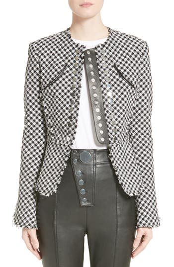 Women's Alexander Wang Check Tweed Peplum Jacket