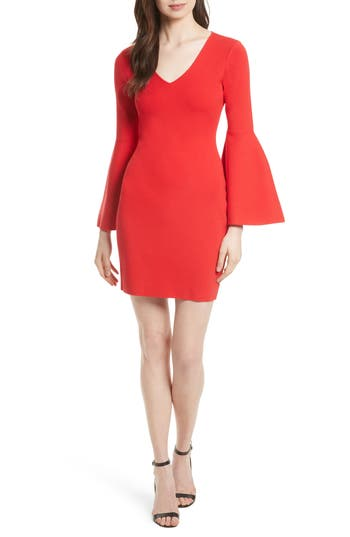Milly Swing Sleeve Knit Sheath Dress, Size Petite - Red