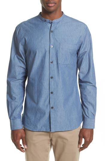 Men's Todd Snyder Stripe Trim Fit Mandarin Collar Sport Shirt