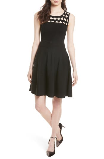 Milly Open Work Yoke Swing Dress, Size Petite - Black
