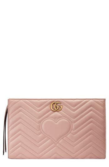 Gucci Gg Marmont Matelassé Leather Clutch - Red