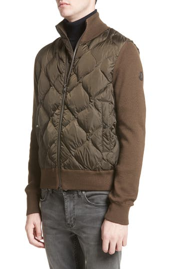 Moncler Maglione Knit Sleeve Quilted Jacket