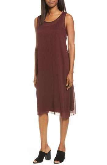 Eileen Fisher Print Shift Dress With Slip