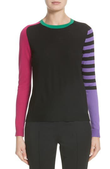 Akris Punto Tricolor Knit Wool Sweater