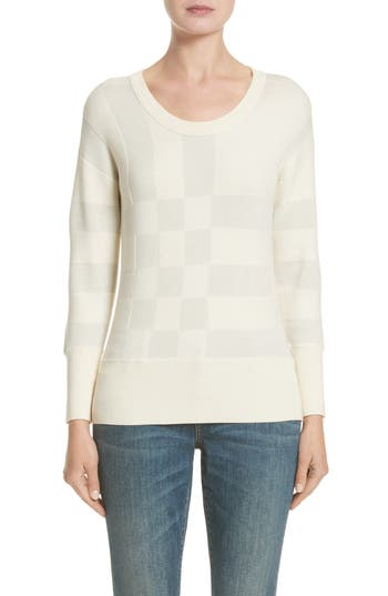 Burberry Check Knit Wool Blend Sweater, White