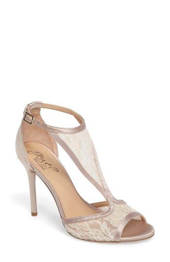 Jewel Badgley Mischka Horizon T-Strap Mesh Sandal- Beige