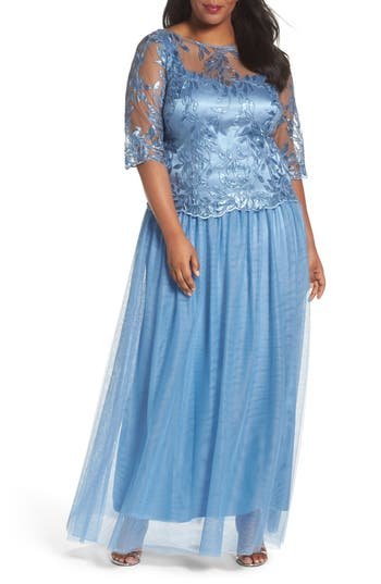 Plus Size Brianna Embellished Mesh Gown