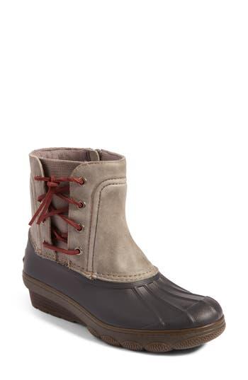 Sperry Saltwater Spray Wedge Waterproof Rain Boot, Grey
