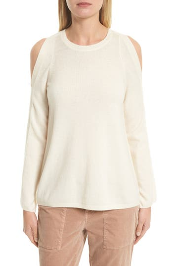 Joie Amalyn Cold Shoulder Wool & Cashmere Sweater, White