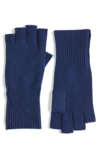 Women's Halogen Cashmere Fingerless Gloves, Size One Size - Blue