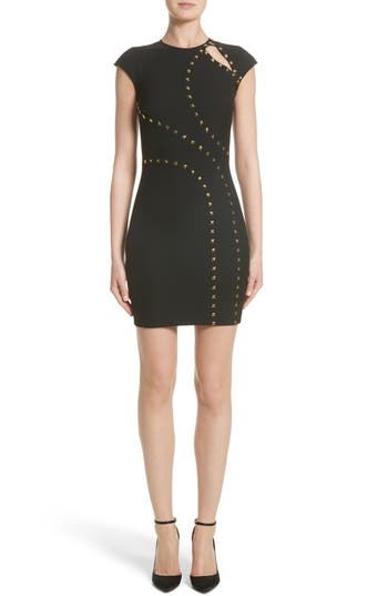 Versace Collection Studded Cap Sleeve Dress, US / 44 IT - Black