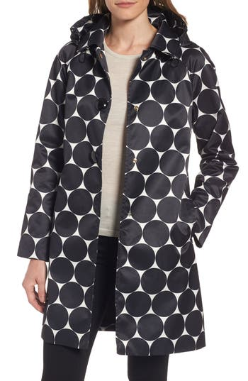 Women's Kate Spade New York Dot Print Raincoat, Size X-Small - Black