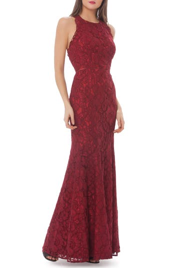 Js Collections Corded Floral Lace Mermaid Gown, Red