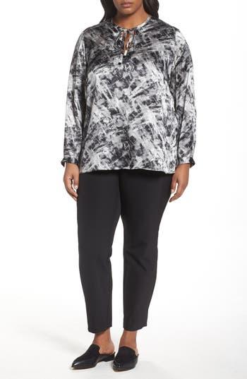 Plus Size Women's Lafayette 148 New York Eli Print Silk Blouse