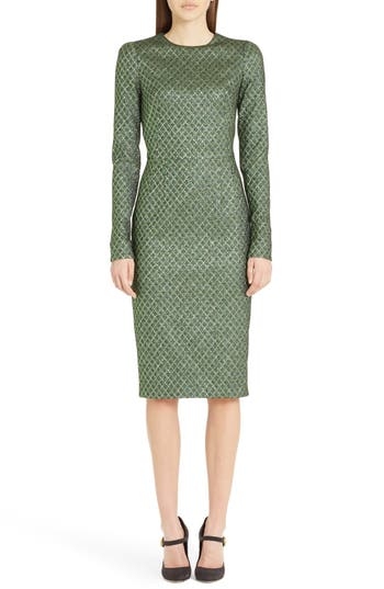Dolce & gabbana Lame Jacquard Sheath Dress, US / 46 IT - Green