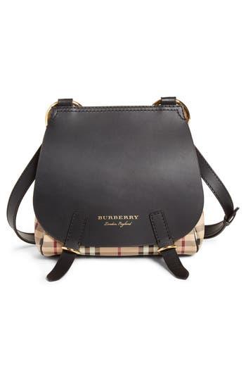 Burberry Bridle Check & Deerskin Shoulder Bag - Black
