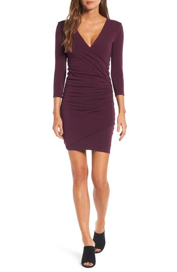 Women's James Perse Tucked Faux Wrap Dress, Size 1 - Purple