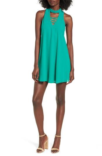 Women's Speechless Keyhole Mock Neck Dress, Size Small - Green