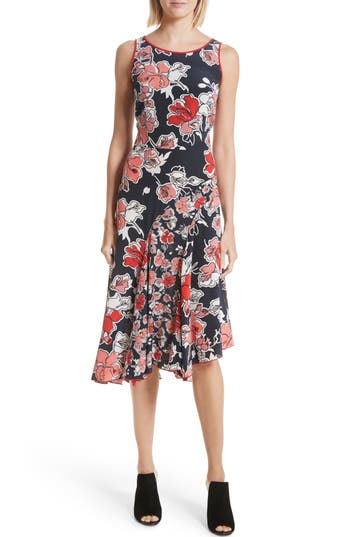 Grey Jason Wu Floral Print Silk Asymmetrical Dress, Blue