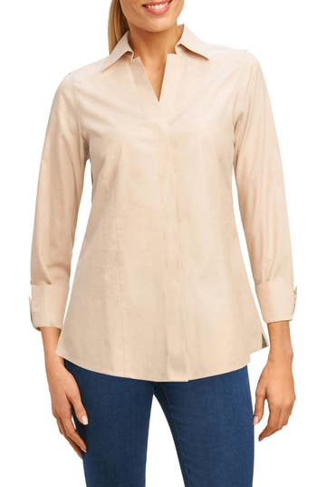 Petite Foxcroft Fitted Non-Iron Shirt, Beige