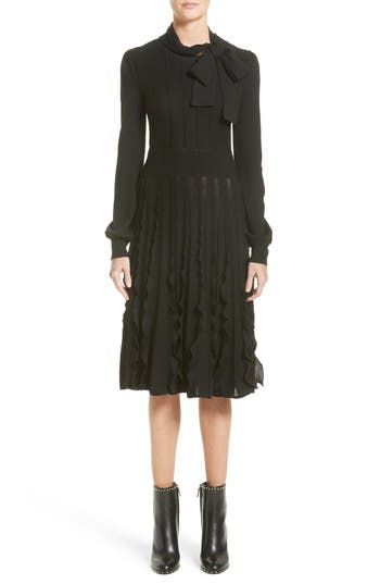 Valentino Ruffle Skirt Wool Knit Dress, Black