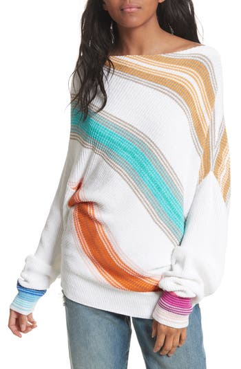 Women's Free People Spectrum Stripe Sweater, Size Small - White