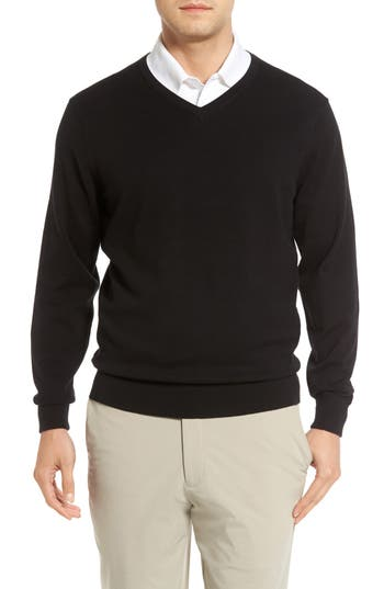 Big & Tall Cutter & Buck Lakemont V-Neck Sweater, Black