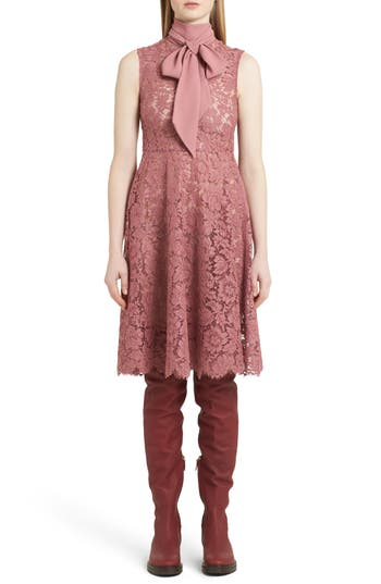 Valentino Tie Neck Guipure Lace Dress, Pink