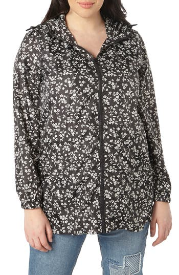 Plus Size Women's Evans Ditsy Floral Print Raincoat, Size 14W US / 18 UK - Black