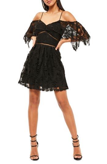 Missguided Stone Cold Fox Off The Shoulder Lace Skater Dress, US / 4 UK - Black