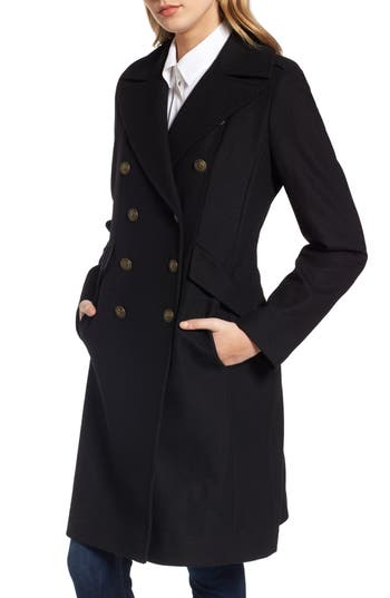 Women's French Connection Long Wool Blend Military Coat, Size 8 - Black