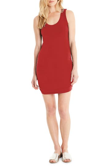 Michael Stars Ruched Side Tank Dress, Red