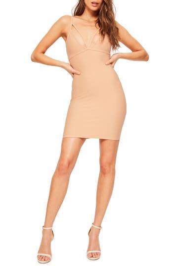Missguided Scuba Body-Con Dress, US / 8 UK - Beige