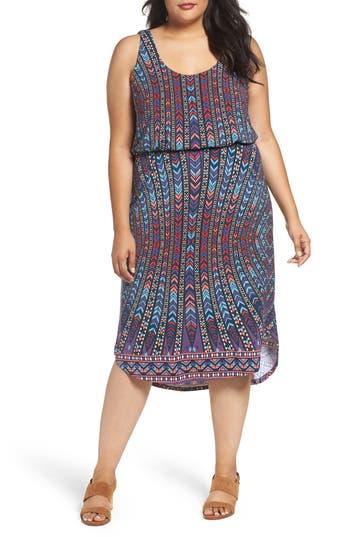 Plus Size Tart Soraya Print Jersey Midi Dress, Blue