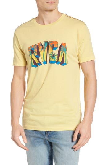 Rvca Block Graphic T-Shirt, Yellow