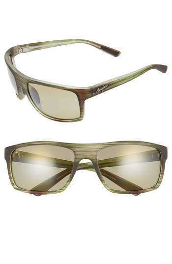 Maui Jim Byron Bay 62Mm Polarized Sunglasses - Matte Green Stripe/ Maui