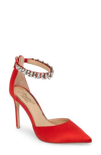 Jewel Badgley Mischka Lizbeth Ankle Strap Pump, Red