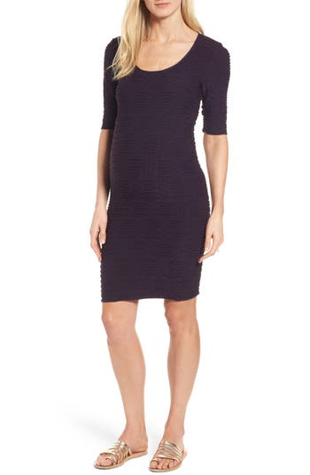 Tees By Tina Monaco Crinkle Maternity Sheath Dress, Size One Size - Purple