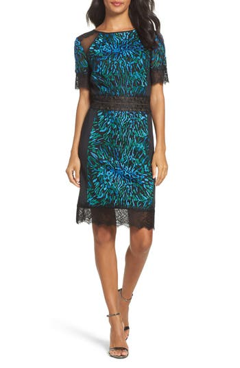 Tadashi Shoji Illusion Lace & Embroidered Mesh Sheath Dress, Blue