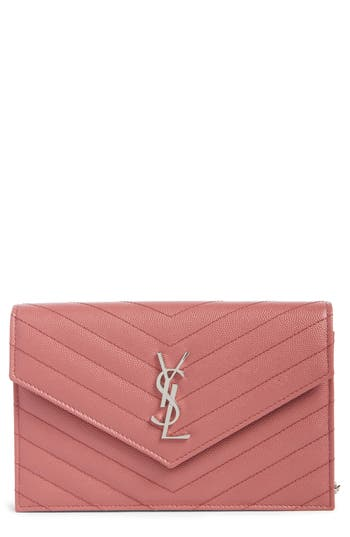 Saint Laurent Quilted Calfskin Leather Wallet On A Chain -