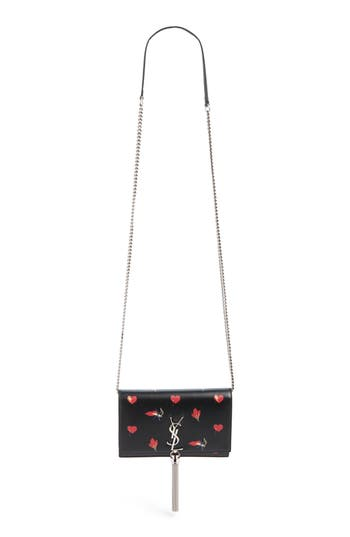 Saint Laurent Mini Kate Leather Wallet On A Chain - Grey